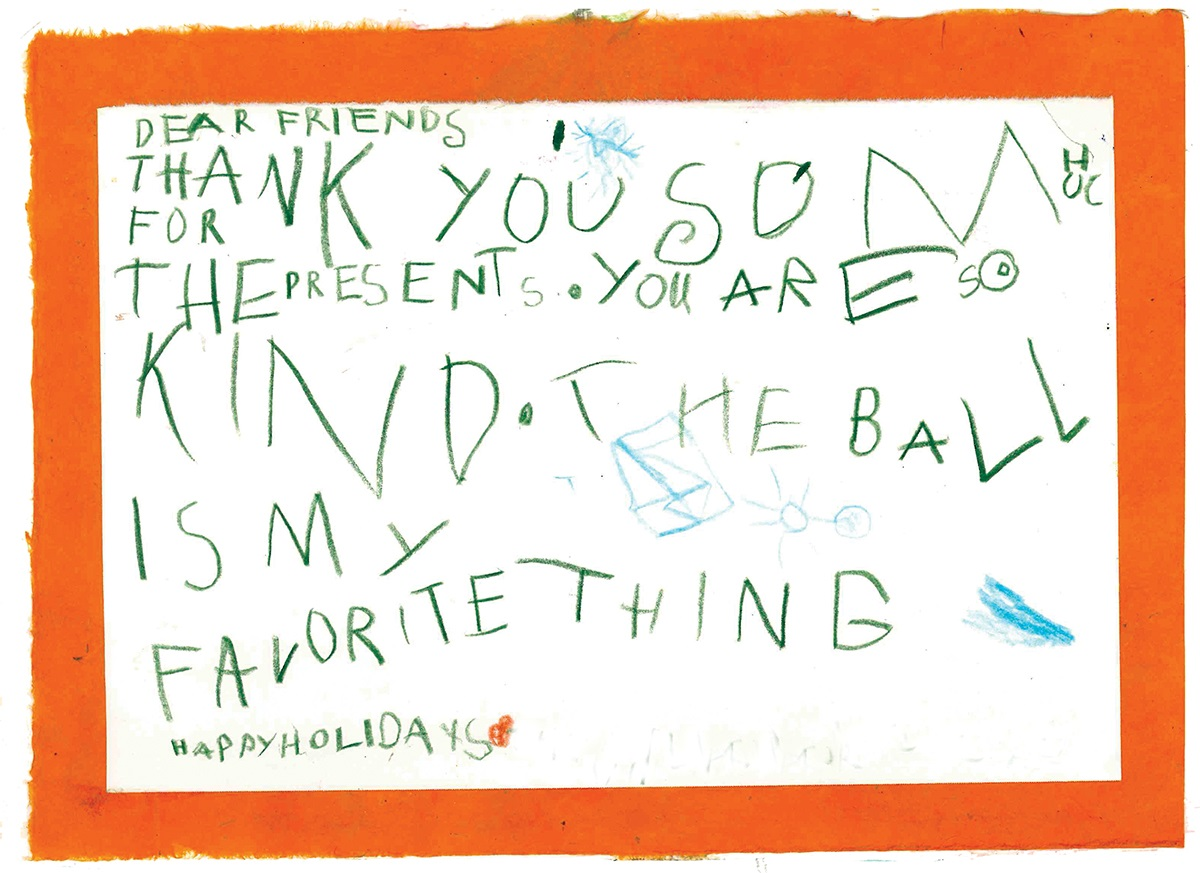 Adopt a family thank you note